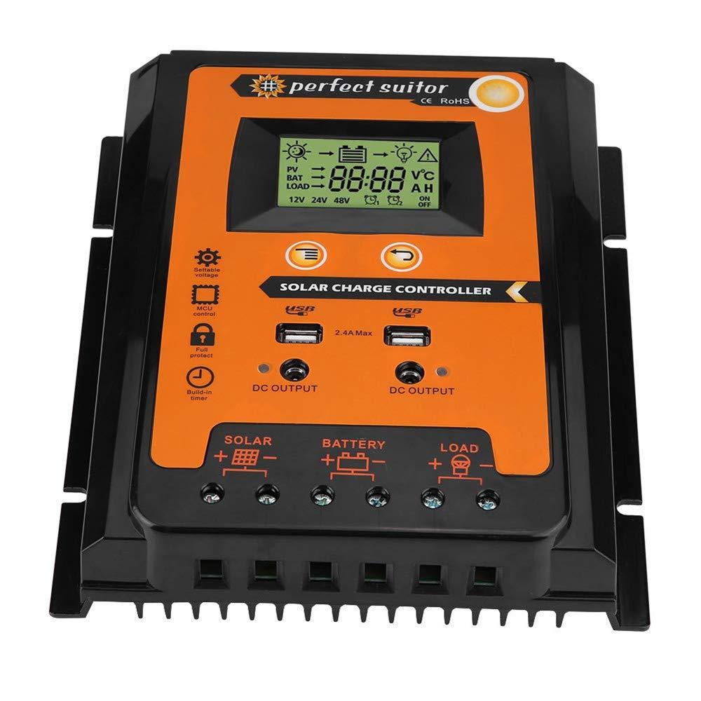 Hunputa 30A MPPT Solar Charge Controller Solar Panel Battery Regulator Dual USB 12V//24V