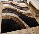 5 Feet By 7 Feet Home Cozy Fluffy Furry Fuzzy 3D Contemporary Modern Indoor Living Room Bedroom Soft Shag Shaggy Plush Rug Brown Beige Gold ( Signature BLD 281 Brown ) Review