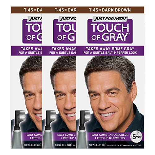 Just For Men Touch Of Gray Comb-In Men's Hair Color, Dark Brown (Pack of 3) (Best Over The Counter Hair Color For Black Hair)