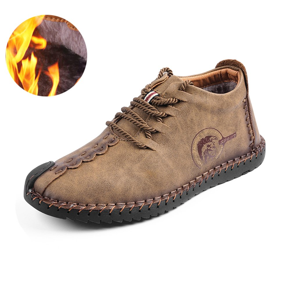 Men's Leather Ankle Chukka Boots Lace up Leather Shoes Groovy Shoes -Khaki-43EUR
