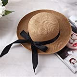 Miki Da 1Pcs New Summer Women's Sun Hat Black Bowknot Ribbon Flanging Straw Hat Beach vintage hat for ladies Caps Head 56-58 cm light coffee