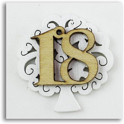 12X NUMERO 18 in legno 4 cm decorazione bombonira DICIOTTESIMO 0XMM