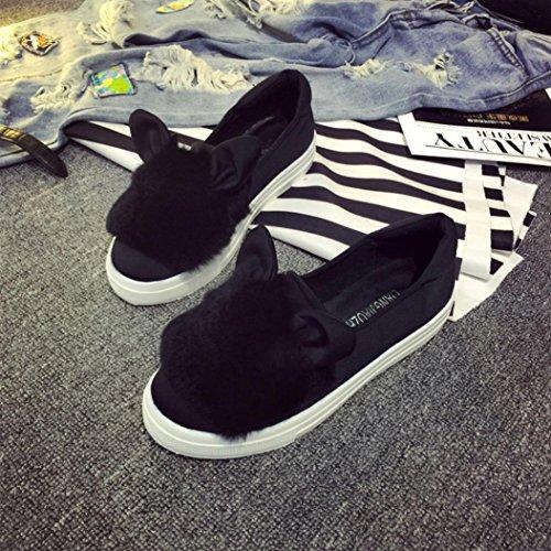 Transer Schuhe Freizeit bequeme Soft Flats Damen schwarz Ear Schuhe Damen Cute zq0Brwz