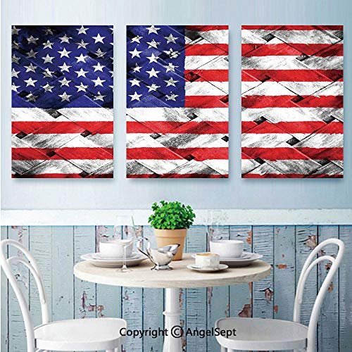 (AngelSept 3 Piece Canvas Wall Art,Fourth of July Independence Day Thatch Rattan Rippled Weave Bamboo Art Decorative,Framed Furniture Decoration,16