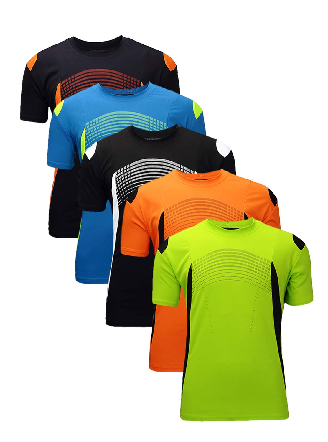 GEEK LIGHTING Men's Regular-Fit Quick-Dry Soccer Shirt(Green&Orange&Black&Blue&Navy,S)