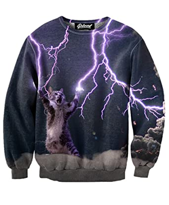 Beloved Shirts Lightning Cat Sweatshirt - Premium All Over Print ...