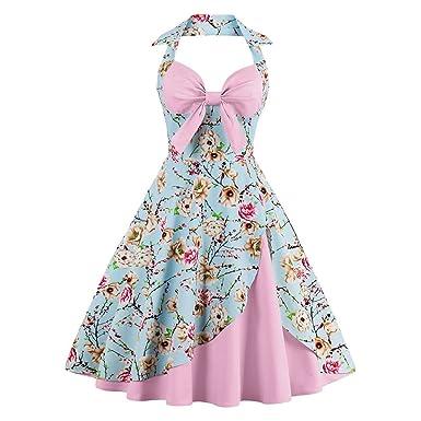 3c3c94ff010f7 Women's 50s Vintage Fancy Wiggle Dresses Bowknot Floral Print 1950s Retro A-Line  Cotton Halter