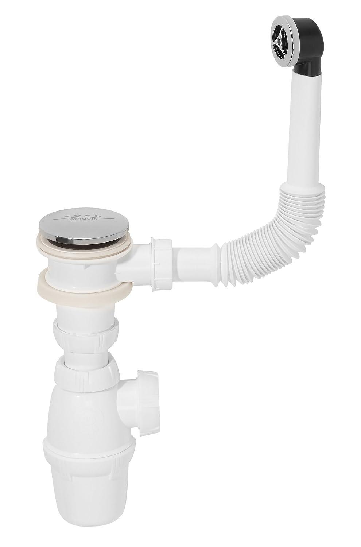 Sifó n con vá lvula de desagü e pushup y desagü e para lavabo Modelo Quick clic-clac Wirquin SP50199