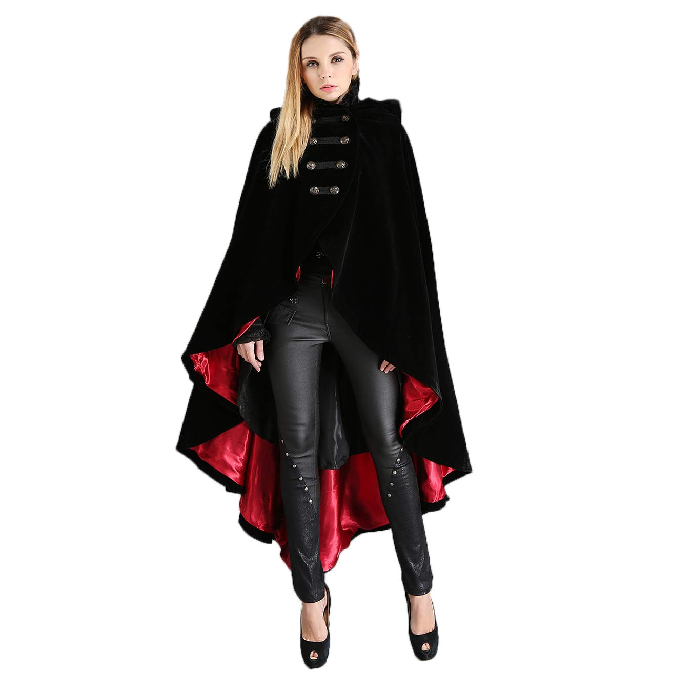Black and Red Vintage Gothic Double Breasted Hooded Cape Coat Women