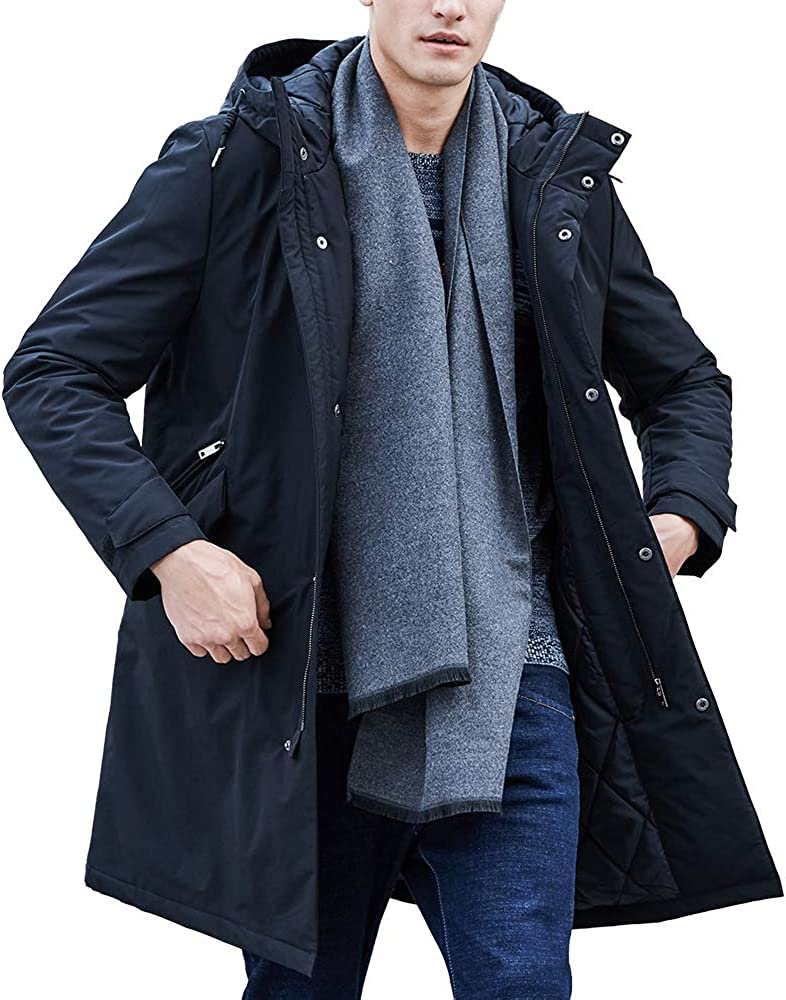 Pioneer Camp Men's Jackets Waterproof Windproof Outdoor Black Hooded Warm Long Parka Coats for Early Spring Fall Winter: Clothing