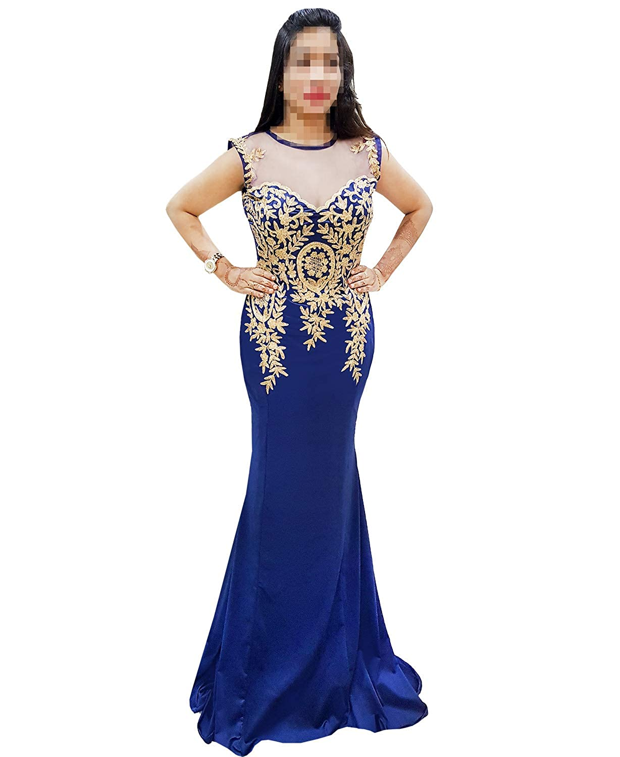 Navy bluee African Boutique Women's Rhinestone Long Zari Embroidery Formal Mermaid Evening Prom Dresses
