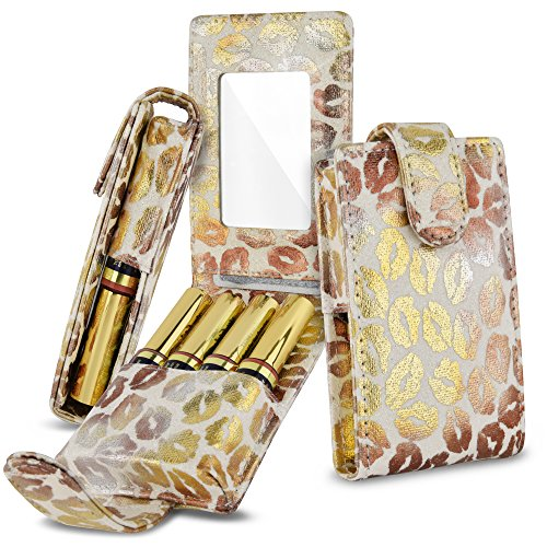 Celljoy Case for LipSense, Younique, Kylie Cosmetics, Liquid Lipsticks and Lip Gloss with Mirror - Fits 4 Tubes Mirror Card Slot - Travel Purse Storage (White Glitter Gold Lips)