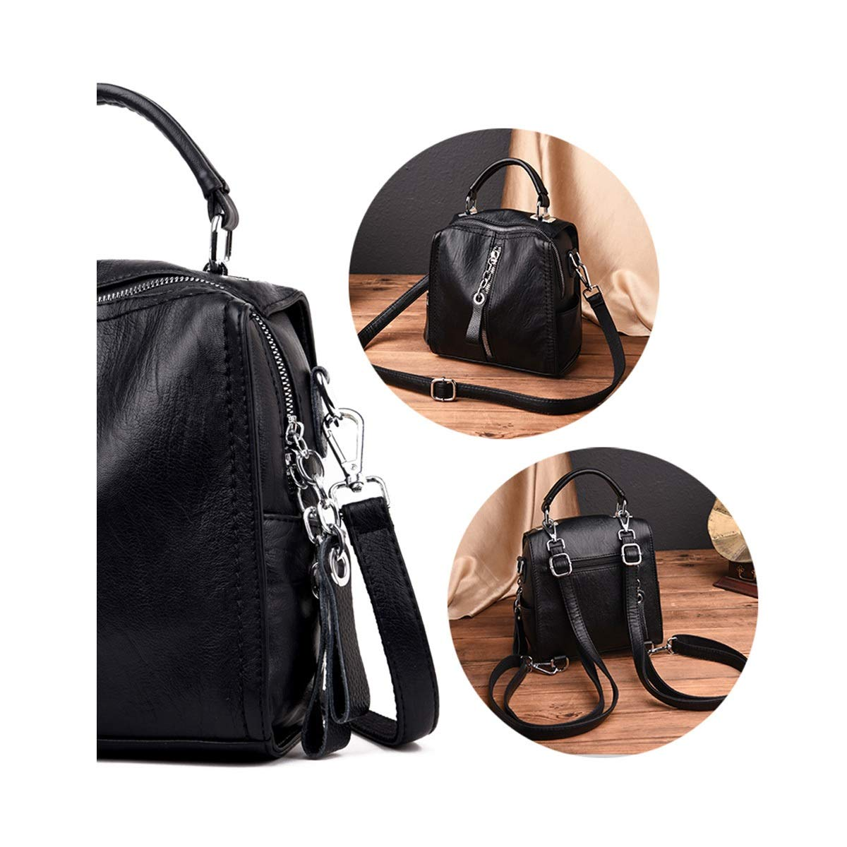 Color : Gray, Size : 21cm22cm11cm Haoyushangmao Girls Multi-Purpose Backpack for Everyday Travel//Outdoor//Travel//School//Work//Fashion//Leisure Six Colors PU Leather and Detachable Shoulder Strap.