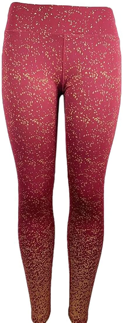 SELX Women Sport High Waist Gold Foil Workout Yoga Alloy Ombre Legging Pants