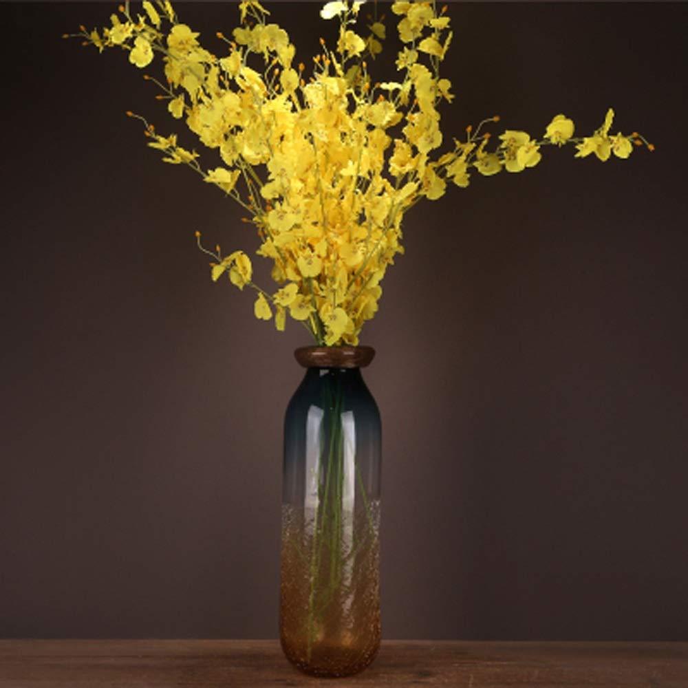 色ガラス花瓶用花緑植物結婚式の植木鉢装飾ホームオフィスデスク花瓶花バスケットフロア花瓶 (三 : L l) B07R4861F8  L l