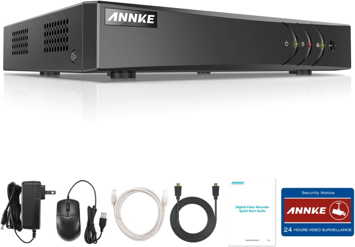 ANNKE DVR 5MP/1080P 8CH Sistema de Vigilancia Grabador de Video Digital(Onvif H.265+ P2P Seguridad CCTV Detección de Movimiento Enchufar y Usar, Android/iOS App)-sin HDD