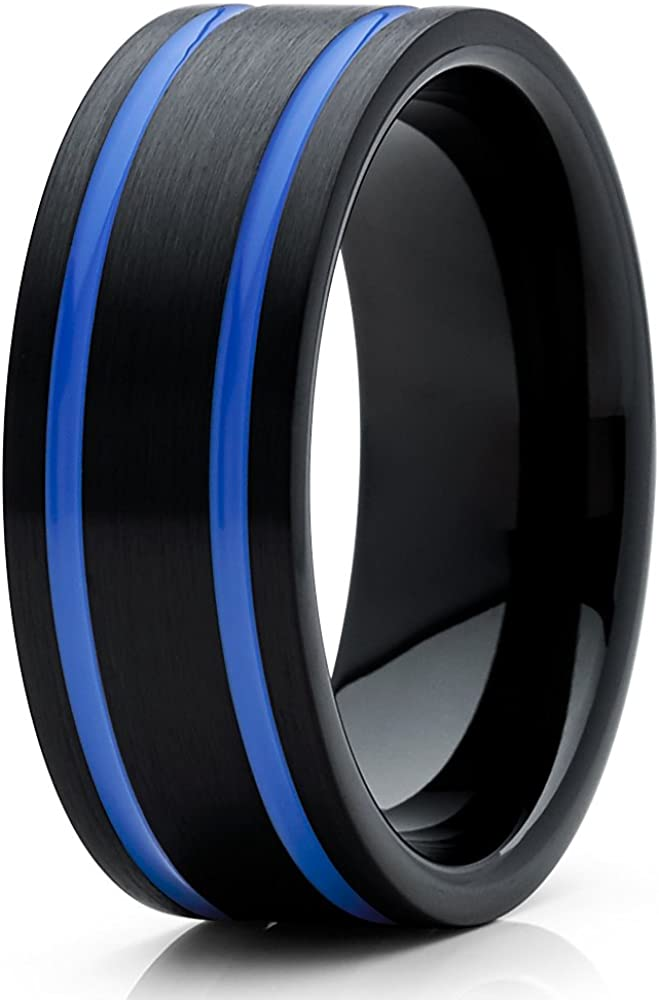 Silly Kings 8mm Blue Tungsten Wedding Band Men & Women Tungsten Carbide Ring Black Tungsten Wedding Band