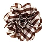 Men's Lapel Flower . Brown Plaids