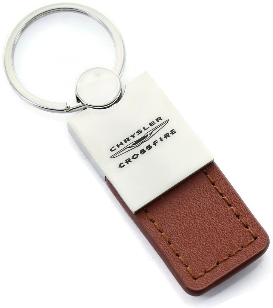 Duo Premium Brown Leather KC1740.CRO.BRN Au-TOMOTIVE GOLD Compatible Keychain and Keyring for Chrysler Crossfire