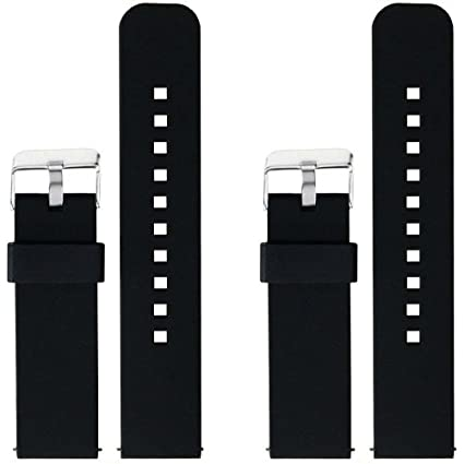 ECSEM 2pcs Replacement Silicone Bands Straps for Motorola Moto 360 (2nd Gen.) - Mens 46mm Only (Black+Black)