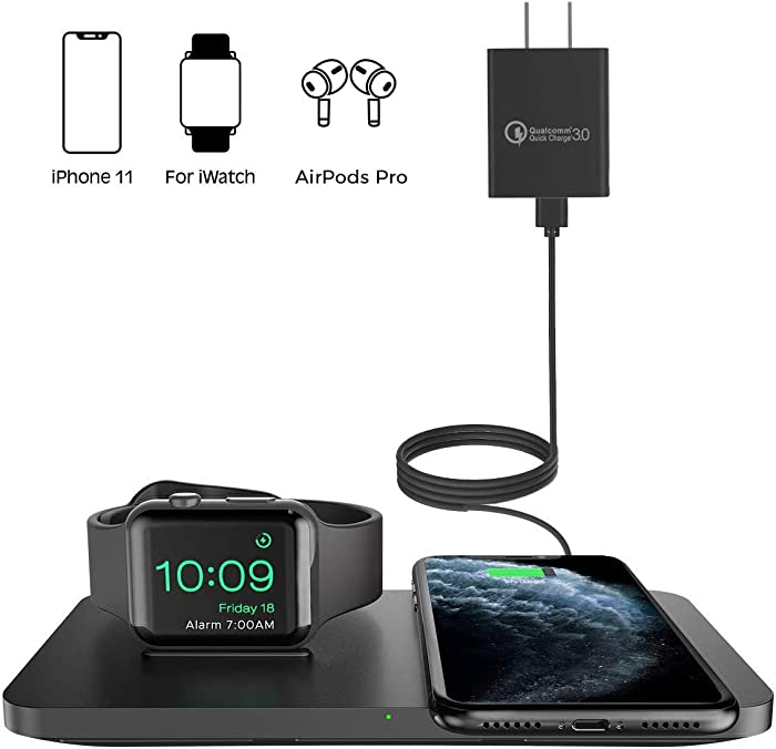 Wireless Charger [with QC 3.0 Adapter], Seneo 2 in 1 Wireless Charging Pad with iWatch Stand for iWatch 5/4/3, 7.5W for iPhone 11/Pro Max/XR/XS Max/XS/X/8/8P/Airpods Pro (No Magnetic Charging Cable)