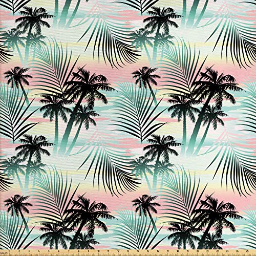 (Ambesonne Hawaii Fabric by The Yard, Summer Season Palm Trees and Exotic Fern Leaves with Abstract Colorful Background, Decorative Fabric for Upholstery and Home Accents, 2 Yards, Multicolor)