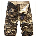BATUOS Men Baggy Rugged Dungarees Outdoor Workwear Tactical Military Camo Cargo Shorts
