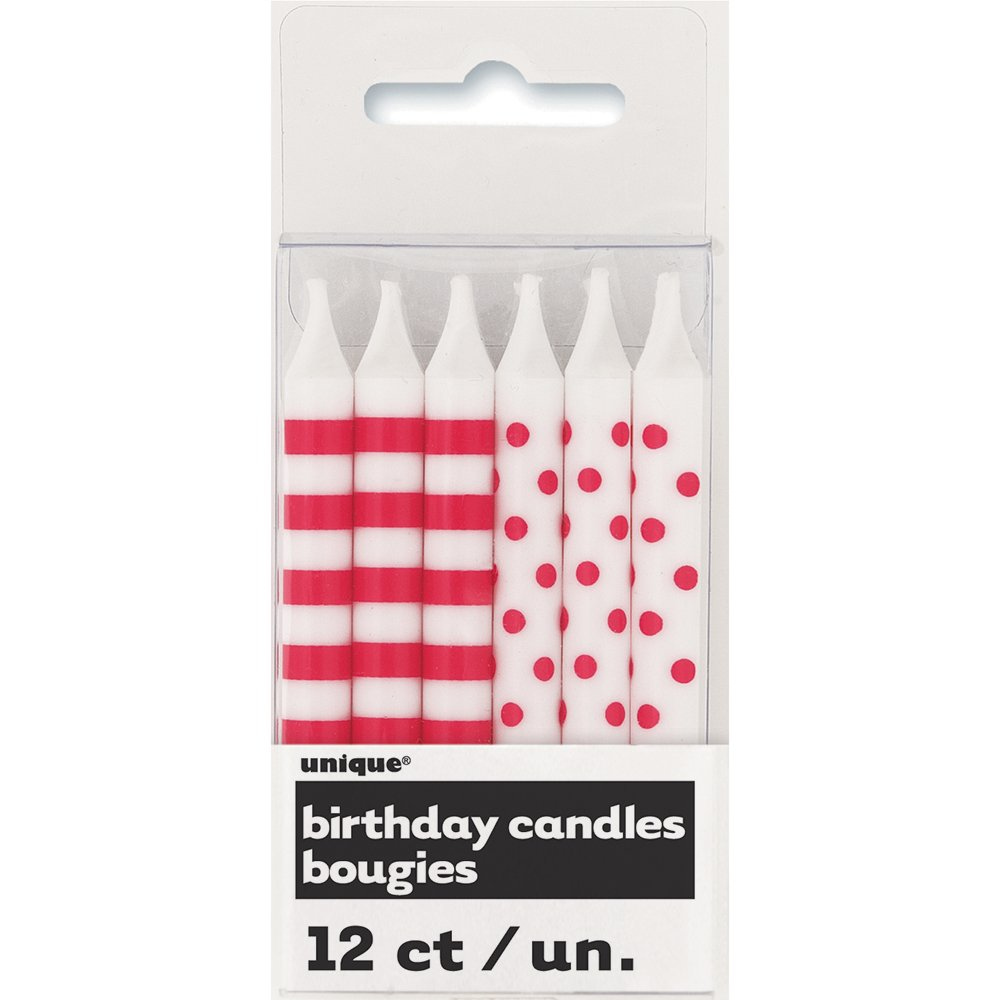 Red Polka Dot & Striped Birthday Candles, 12ct