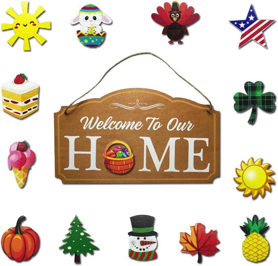 HeiBAIlong Interchangeable Welcome Sign Rustic Farmhouse Decor Wooden Hanging Sign Front Porch Season Welcome Sign for Outdoor Holiday Easter Halloween Fall Christmas Valentines