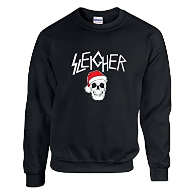 santa sleigher christmas sweater funny ugly rock metal sweatshirt black s - Metal Christmas Sweater