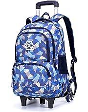 RYC Trolley Bag Cadeaux Rentrée Scolaire Sac à Dos roulettes 2 en 1 Cartable Roulette Bagages Cabine Loisir Voyage Enfant Fille Garçon Primaire Maternelle 33 * 24 * 48cm Bleu 6 Roues