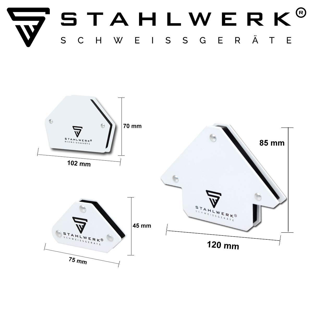 fuerza adhesiva entre 9 y 25 libras color blanco 4 y 11,3 kg juego de 6 piezas STAHLWERK im/án magn/ético de /ángulo de soldadura magn/ético 30/° x 45/° x 60/° x 75/° x 90/° x 135/°