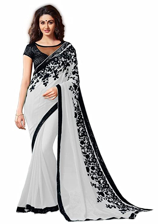 Buy Gayatri Enterprise New Designer White Embroidery Georgette Saree With Blouse At Amazon In