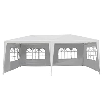 Outsunny Large 10' x 20' Gazebo Canopy Party Tent with 4 Removable Window Side Walls, Wedding, Picnic Outdoor Events-White : Garden & Outdoor