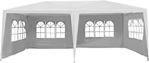 Outsunny 10' x 20' Gazebo Canopy Party Tent w/ 4 Removable Window Side Walls - White