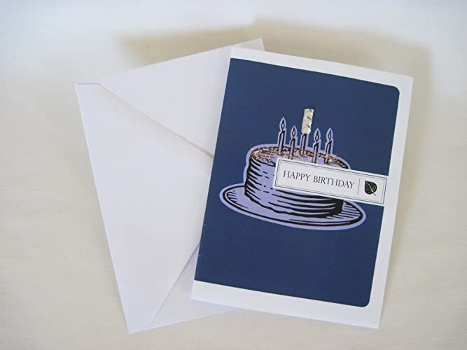 Handmade Creative Blank Happy Birthday Card Gift On White Stock Art Craft Blue Cake