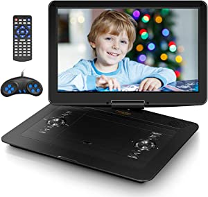 """17.9"""" Portable DVD Player with 15.6"""" HD Swivel Screen, PersonalDVDPlayer with 5 Hrs Rechargeable Battery, MobileDVDPlayer for Kids, Home, Sync to TV, Support USB/SD & Multiple Disc Formats (Black)"""
