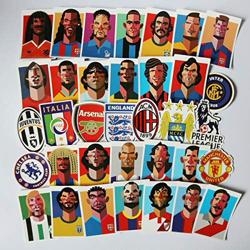 Football Star Laptop Stickers Soccer Star Stickers Computer Car Skateboard Motorcycle Bicycle Luggage Guitar Bike Decal 35pcs Pack -