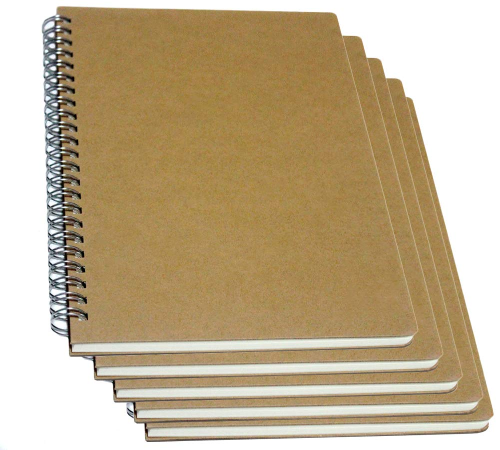 YUREE Spiral Notebook/Spiral Journal, Hardcover Spiral Lined Notebook, 140 Pages (70 Sheets) with Wide Ruled, A5, 8.4'' x 5.9'', 5-pack by YUREE