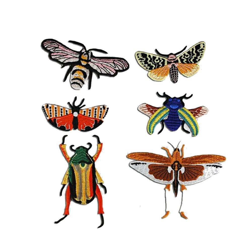 1set/6pieces Embroidery Beetle Butterfly Insects Applique Fabric Patches Badge DIY Craft for Jeans Clothes Decorated Sewing TH887 (A) Sunbe shine