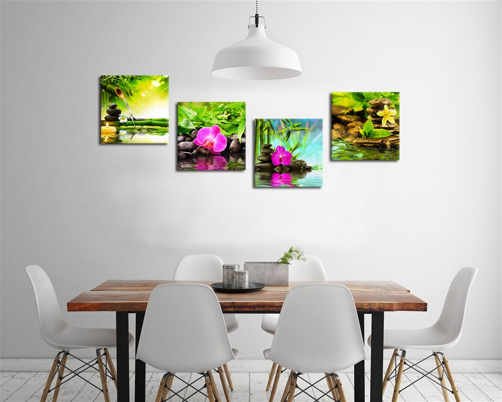 Superieur Amazon.com: Canvas Art Zen Canvas Prints Spa Wall Decor 4 Panel Canvas  Artwork Modern Pictures Framed Ready To Hang   Spa Massage Treatment Red  Orchid ...
