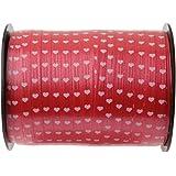 Ringelband Schleifenband Herz 7,5 mm x 50 m rot - Herzgirlande Herzband - 3994