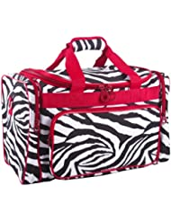 Ever Moda Red Zebra Duffle Bag 19-inch