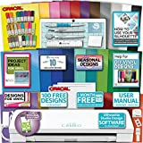 Silhouette Cameo 3 Machine Bundle Sketch Pen Pack, 25 Sheets Oracal Vinyl, Hook, Scraper, Spatula, Quick Pick Up, Designs
