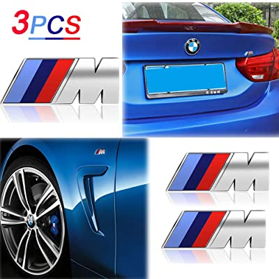 KENPENRI M Badge Tir Color Rear Emblems Fender Side Emblems for BMW - 3D Decal Nameplate Car Decal Logo Sticker Fit for All BMW - Silver(3 PCS): Automotive