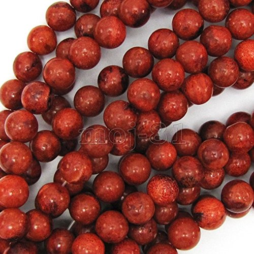 8mm Natural Red Sponge Coral Round Gemstone Loose Beads 15