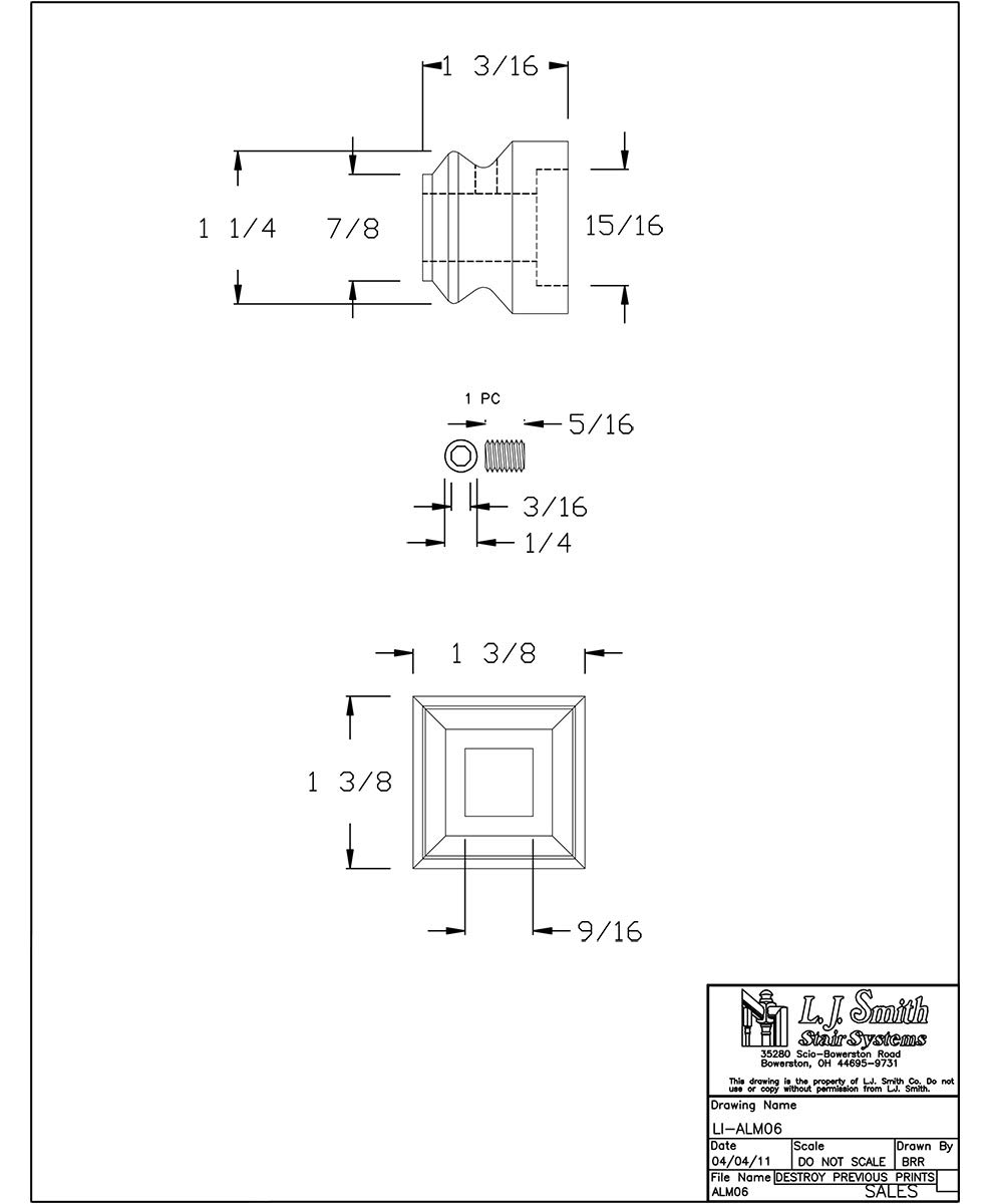 Level Shoe for 1//2 Hollow Square Metal Balusters LI-ALM06