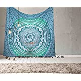 Tapestry Queen Green Ombre Hippie tapestries Mandala Bohemian Psychedelic Intricate Indian Bedspread 92x82 Inches Aakriti Gallery …