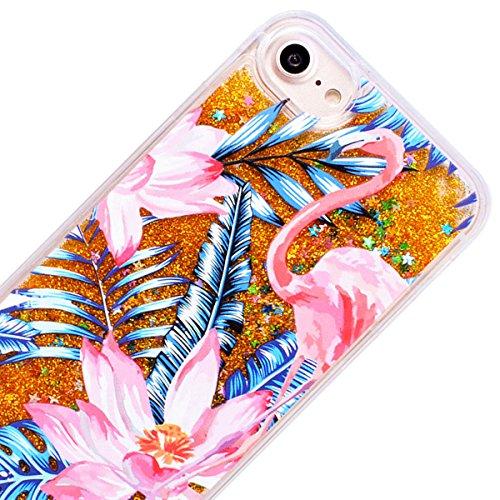 WE LOVE CASE Funda iPhone 7, Ultra Fina Slim Hybrid PC Hard Back Suave Funda iPhone 7 Silicona Purpurina Bling Glitter Líquido Cubierta Clear Cover, Original Flexible Gel Dibujos Anti Rasguños Choque  Flamenco Azul