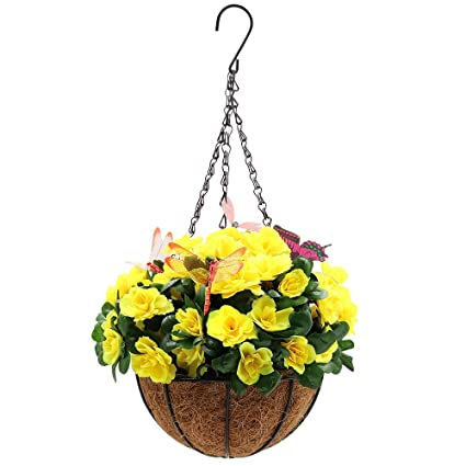 Amazon xiaz hanging flower basket with dragonfly butterfly xiaz hanging flower basket with dragonfly butterfly stakes artificial yellow azalea hanging planter with s mightylinksfo